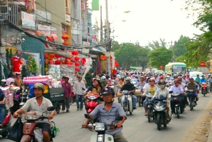 Scooter traffic in Ho-Chi-Minh-City