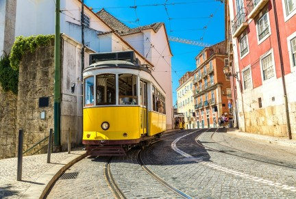 Vintage tram in Lisbon - S-F/Shutterstock