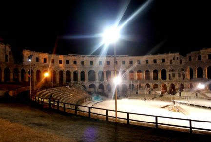 Inside Pula Arena at night | Croatia 10 best things to do